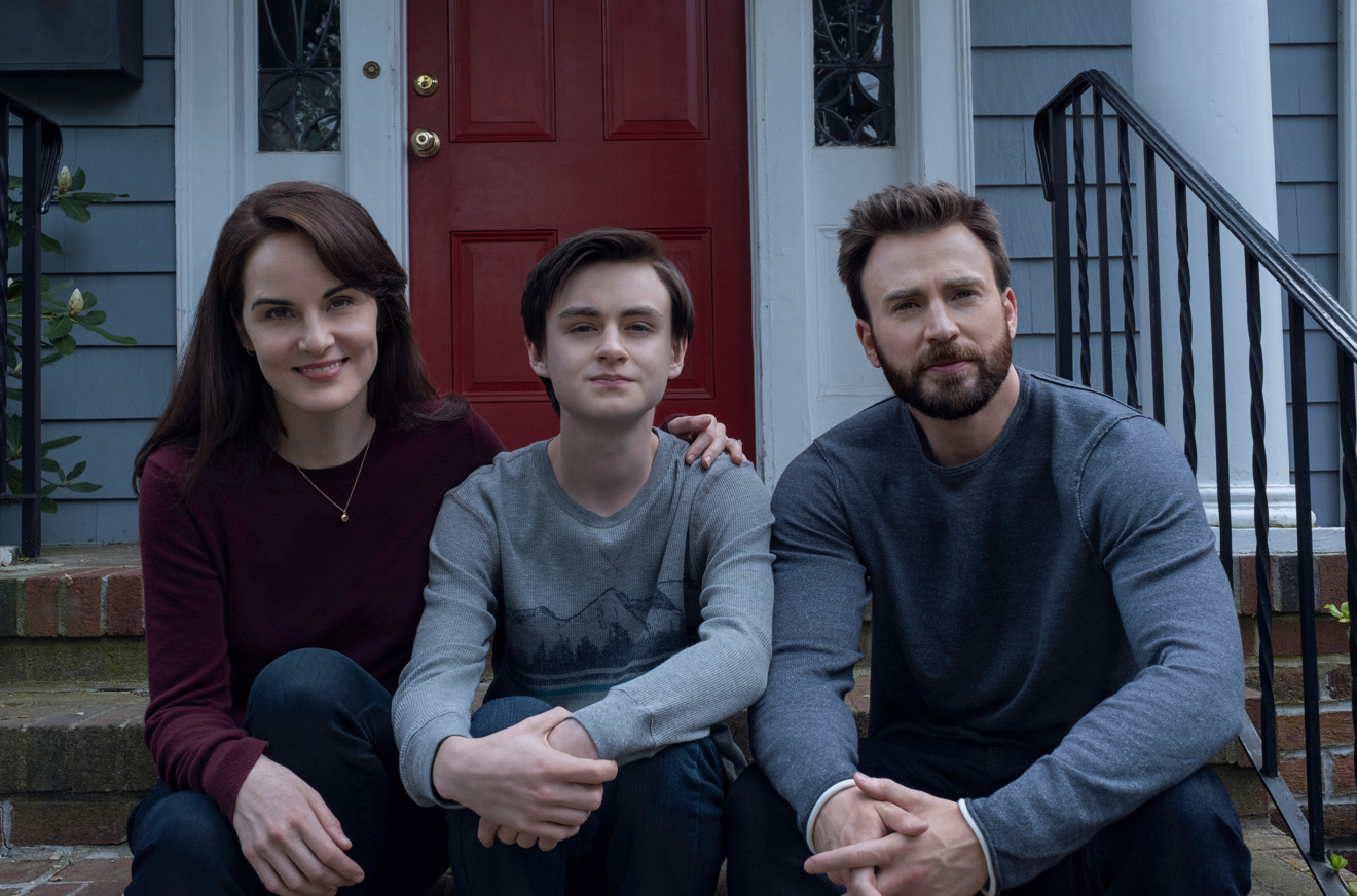 Michelle Dockery, Jaeden Martell and Chris Evans in Defending Jacob, premiering April 24 on Apple TV+.
