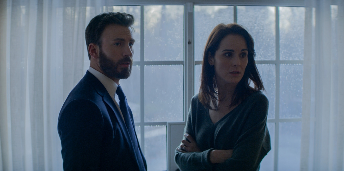Chris Evans and Michelle Dockery in Defending Jacob, premiering April 24 on Apple TV+