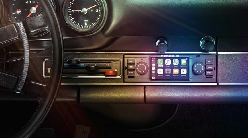 The CarPlay kit blends in with Porsche's trim