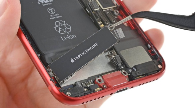 The Taptic Engine can be easily removed and switched (via iFixit)