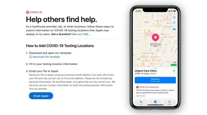 The Apple Maps portal for healthcare providers to submit their facilities as testing sites.