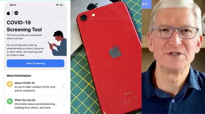Left: Coronavirus, Middle: iPhone SE second generation, Right: Tim Cook