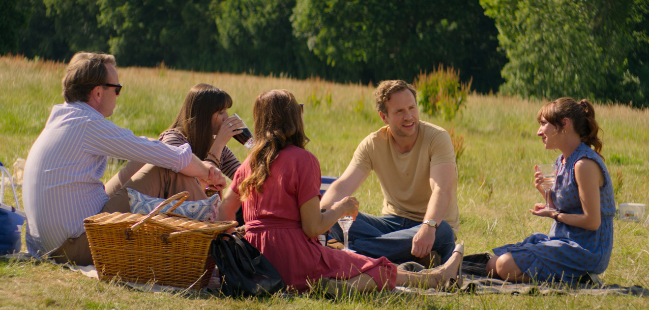 Rafe Spall, Esther Smith, Bruce MacKinnon, Susannah Wise and Karina Fernandez in Trying, premiering May 1 on Apple TV+