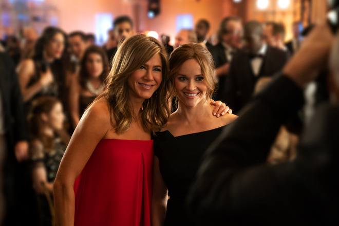 Jennifer Aniston and Reese Witherspoon, co-stars of Apple TV+ show The Morning Show