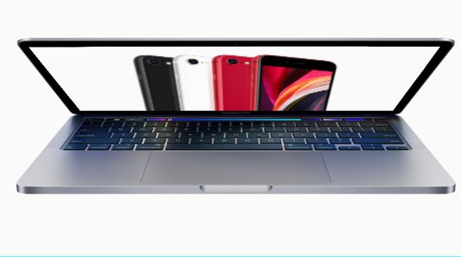 L'iPhone SE d'Apple présenté sur un MacBook Pro 13 pouces 2020