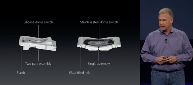 Phil Schiller explaining the difference between the old scissor system and the new butterfly one in 2015