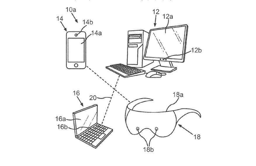 Detail from a patent drawing describing the devices that could be used to show these meeting avatars