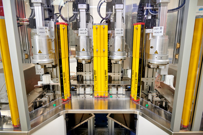 Manufacturing equipment used by COPAN Diagnostics to assemble COVID-19 diagnostic collection kits
