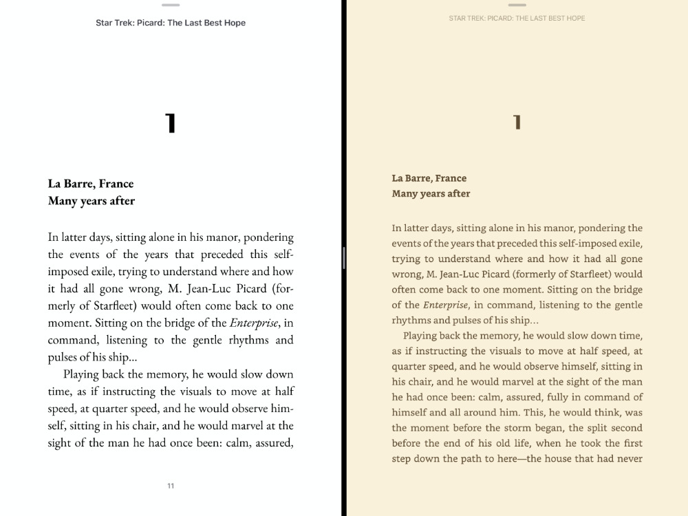 Left: Apple Books on iPad. Right: Kindle on iPad.