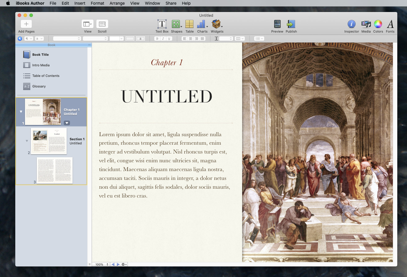 This is what Apple's iBooks Author app looks like today —  and looked like when it launched in 2012, too.