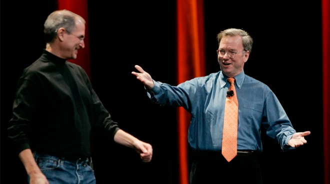 Eric Schmidt (right) with Apple co-founder Steve Jobs in 2007
