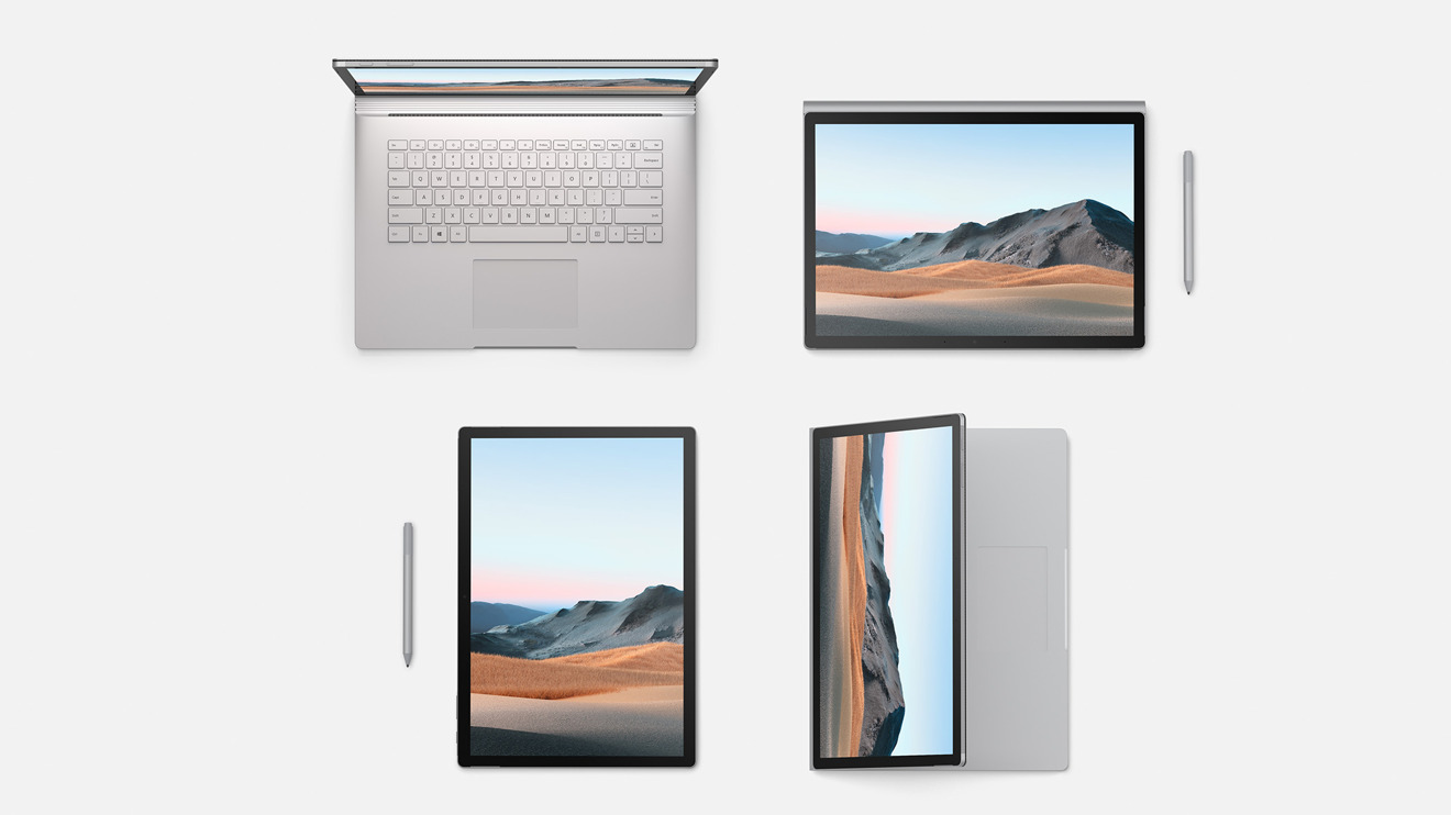 The Surface Book 3 in an assortment of orientations