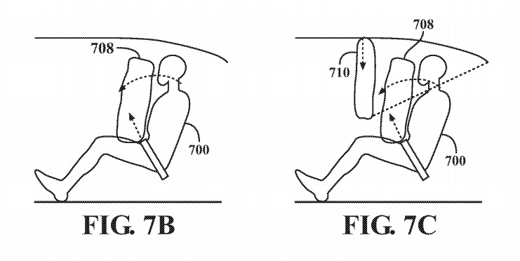 Examples of a seatbelt-style airbag and a ceiling-mounted airbag with extra tether to restrict movement
