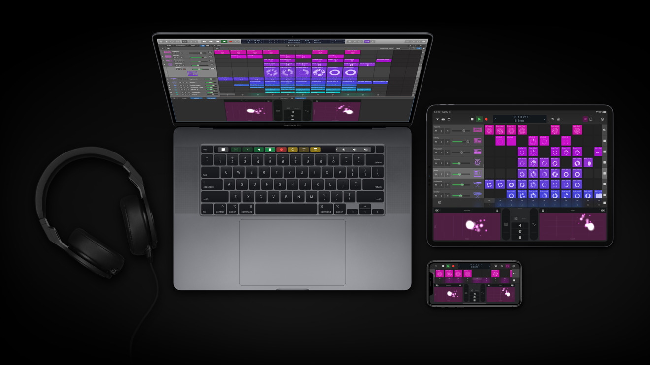 Logic Pro X on the MacBook Pro, with the Logic Remote app