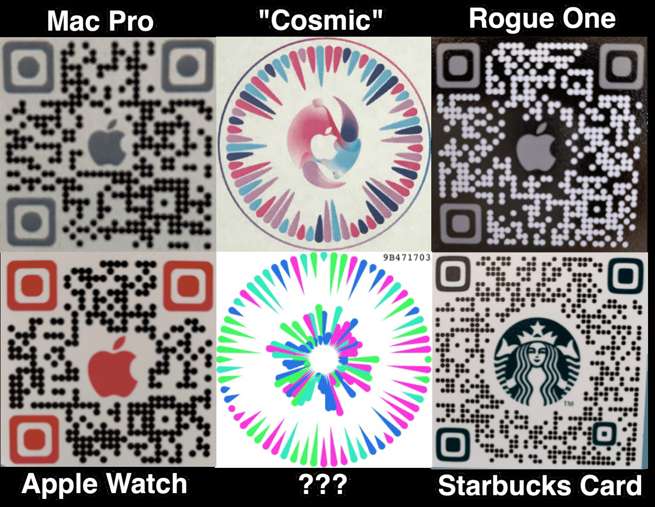 New circular Apple QR codes, as well as more traditional QR codes, for use in the Gobi app. Credit: Josh Constine