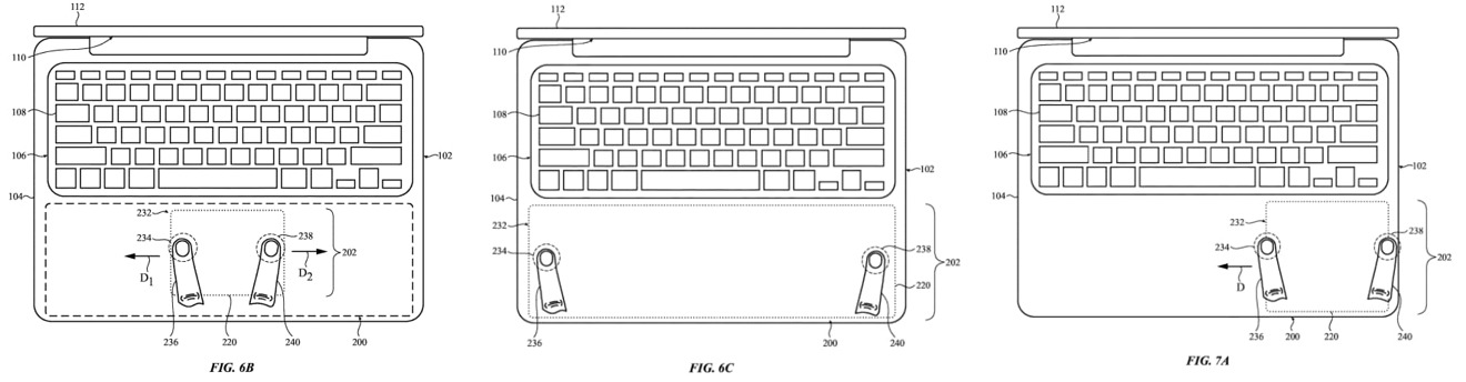 Gestures could expand, contract, or move the trackpad's usable area
