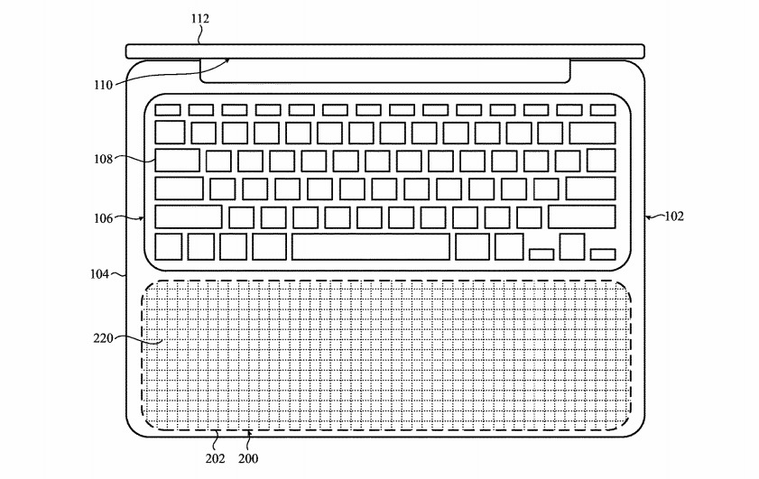 The entire sub-keyboard section of the lower housing for a MacBook Pro could become a giant light-up trackpad