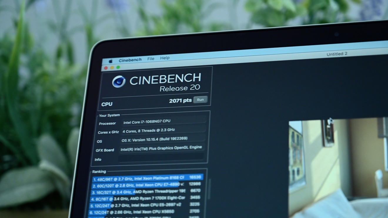 Cinebench R20 results for the 2020 MacBook Pro 13-inch high-end