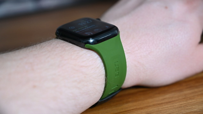 The olive green Scout UAG Apple Watch strap