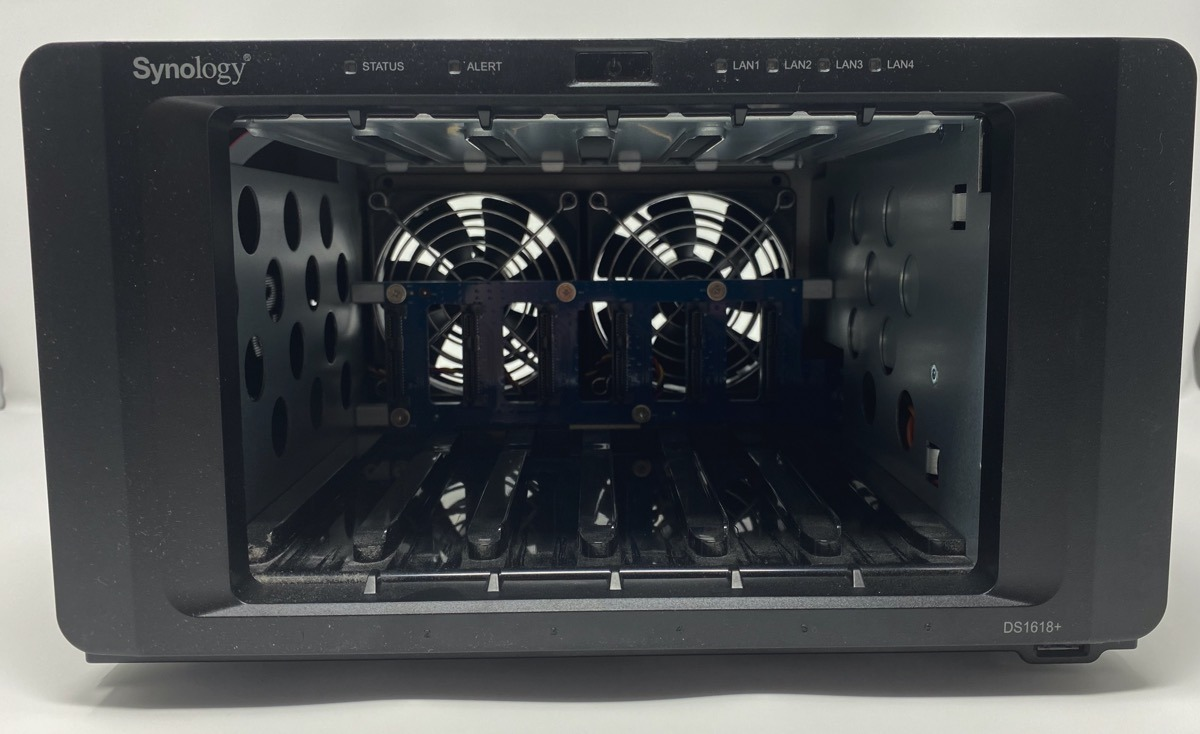 Drive slots interior to the Synology DS-1618+