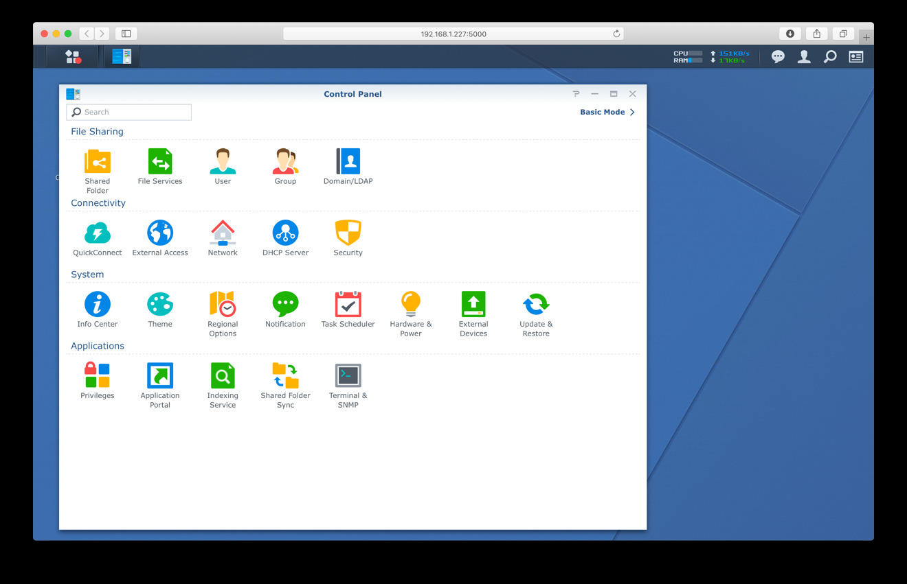 Synology settings page in Safari —  your gateway to installing packages and configuring the unit