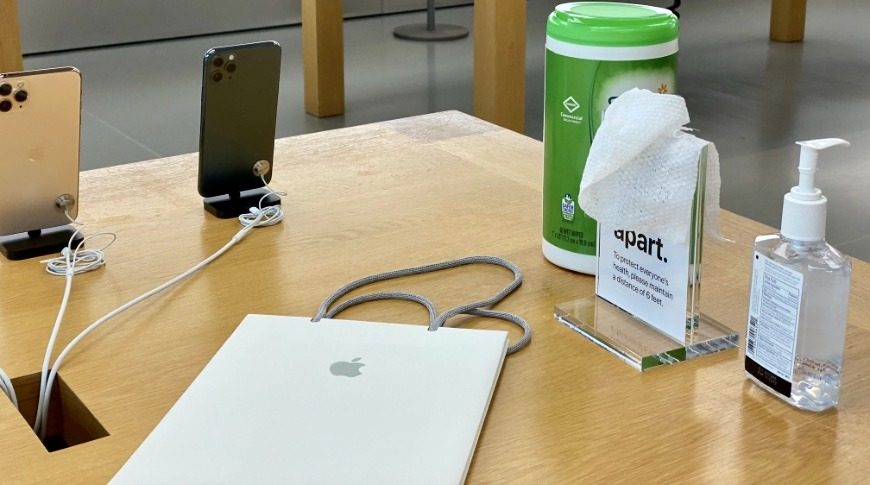 Apple Store disinfecting station