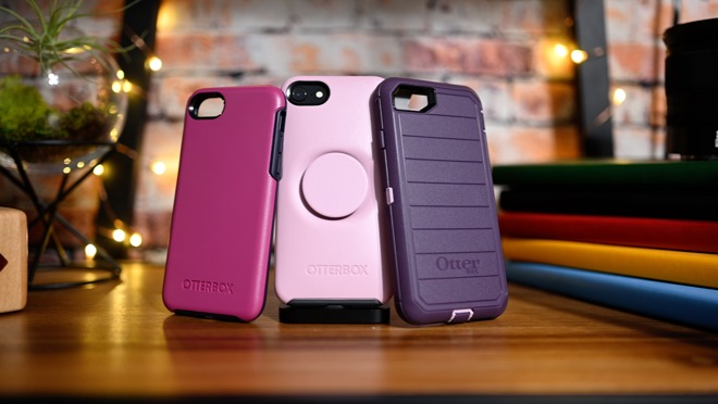 OtterBox Symmetry (left), Pop + Otter (center), and Defender Pro (right)