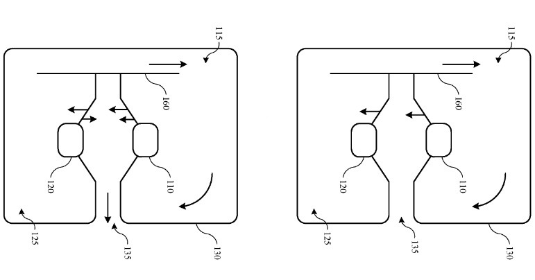 Two figures indicating airflow within a speaker system housing. Credit: Apple