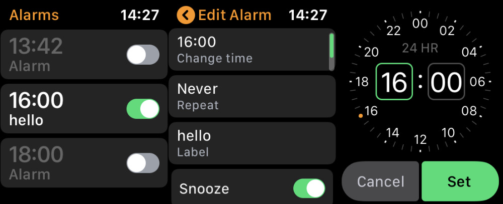 Here's where you can manually change an alarm time or give it a label.