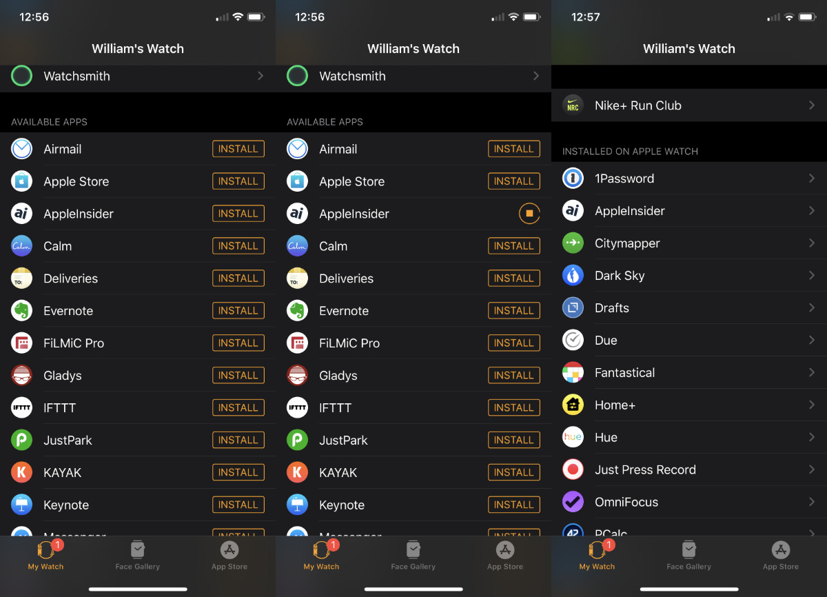L-R Find the Available Apps section in the iPhone's Apple Watch app. Choose one to install and then it appears under the Installed list