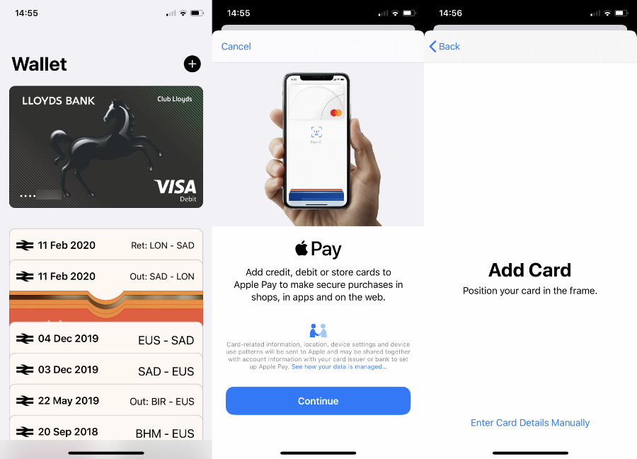 You set up Apple Pay through the Wallet app. Notice the third screen: for security reasons, Apple won't let you take a screen grab of a credit card in shot. It's a nice touch.