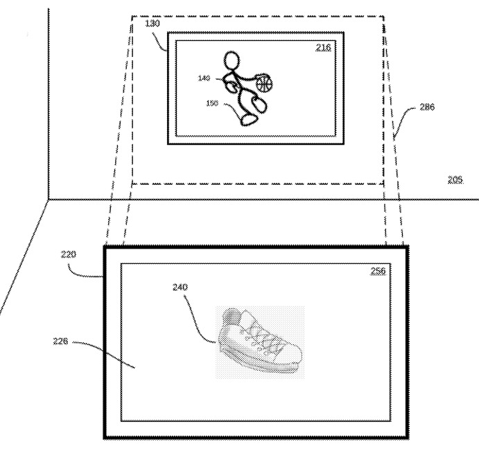 Detail from the patent showing how one element of video can be examined in a second screen