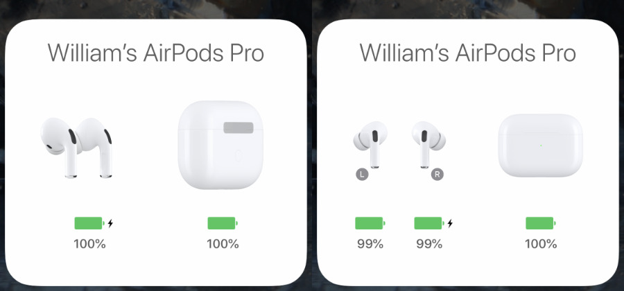 Just opening the case near your iPhone gets you the information on the left. Take out one AirPod and you get more details.
