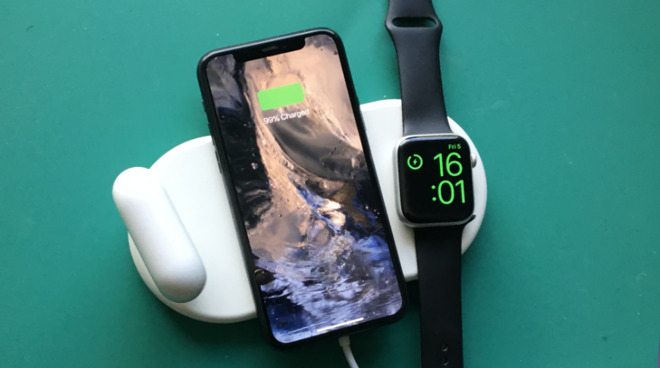 The Vissles-W 3-in-1 wireless charging pad with AirPods Pro, iPhone 11 Pro Max, and Apple Watch