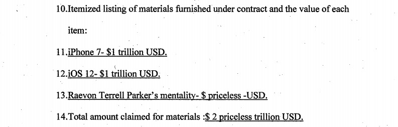 Parker's earlier valuation of items claimed under the previous lawsuit attempt.