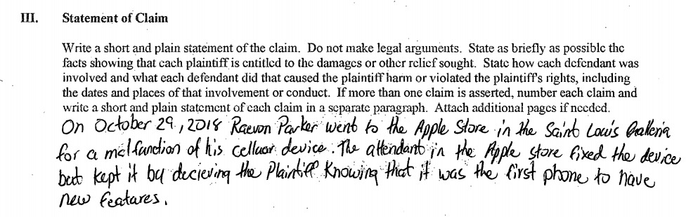 Parker explaining the reason for the lawsuit in his own words.