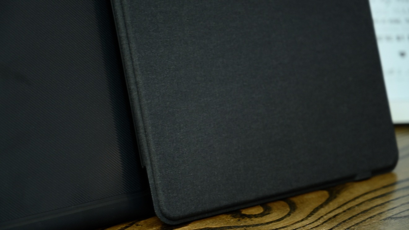 Fabric cover on the Slim Book Go iPad Pro keyboard case