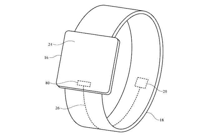 An example of locating a piezoelectric section to part of an Apple Watch band on the inside of the wrist.