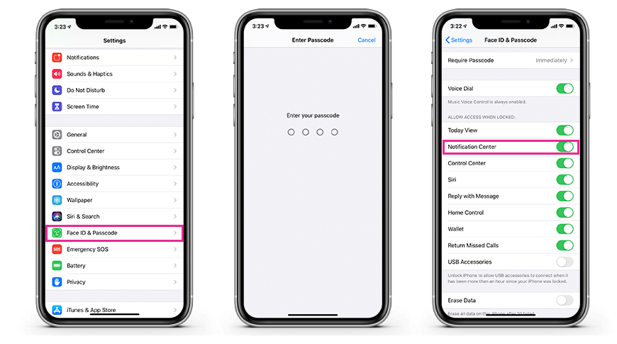 Enabling Notification Center access when locked