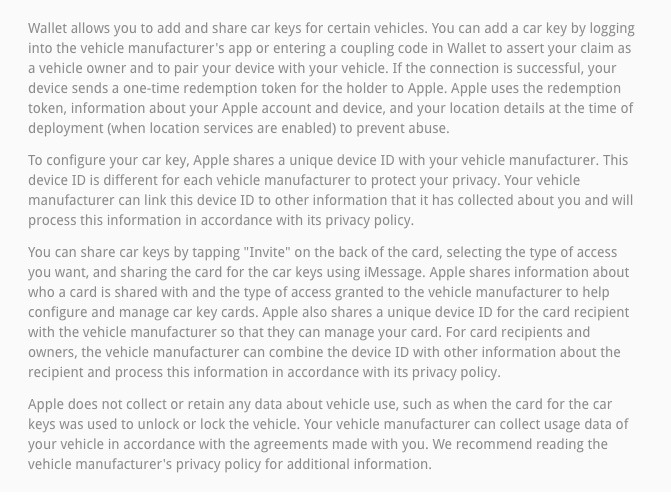 The leaked CarKey privacy policy. Credit: iPhone-ticker.de