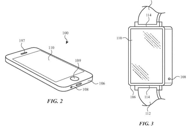 Images of an Apple Watch and iPhone found in the vent patent.