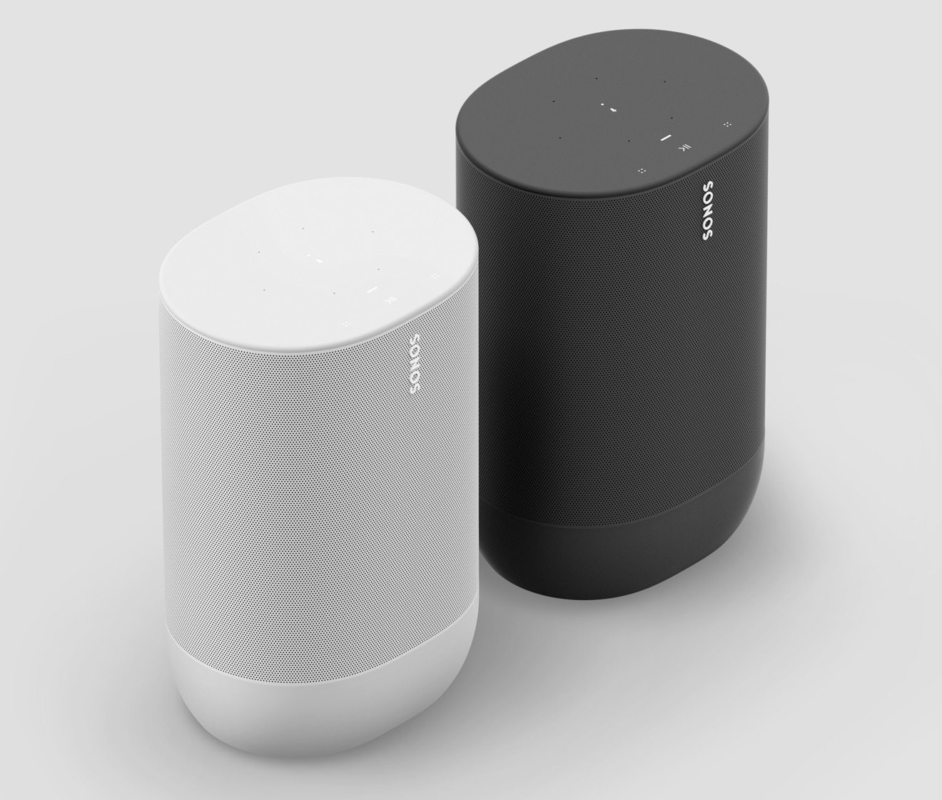 Lunar White and black colorways of Sonos Move