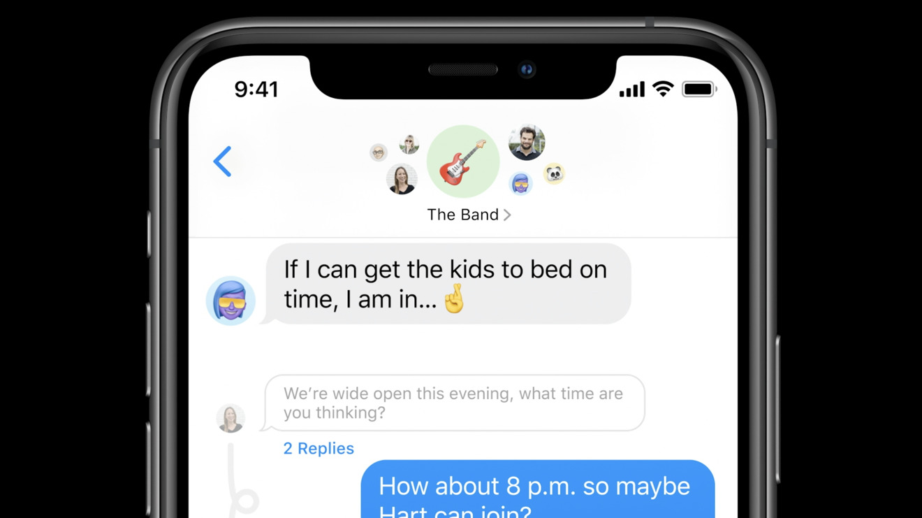 Conversation threading and group conversation icon images in iOS 14