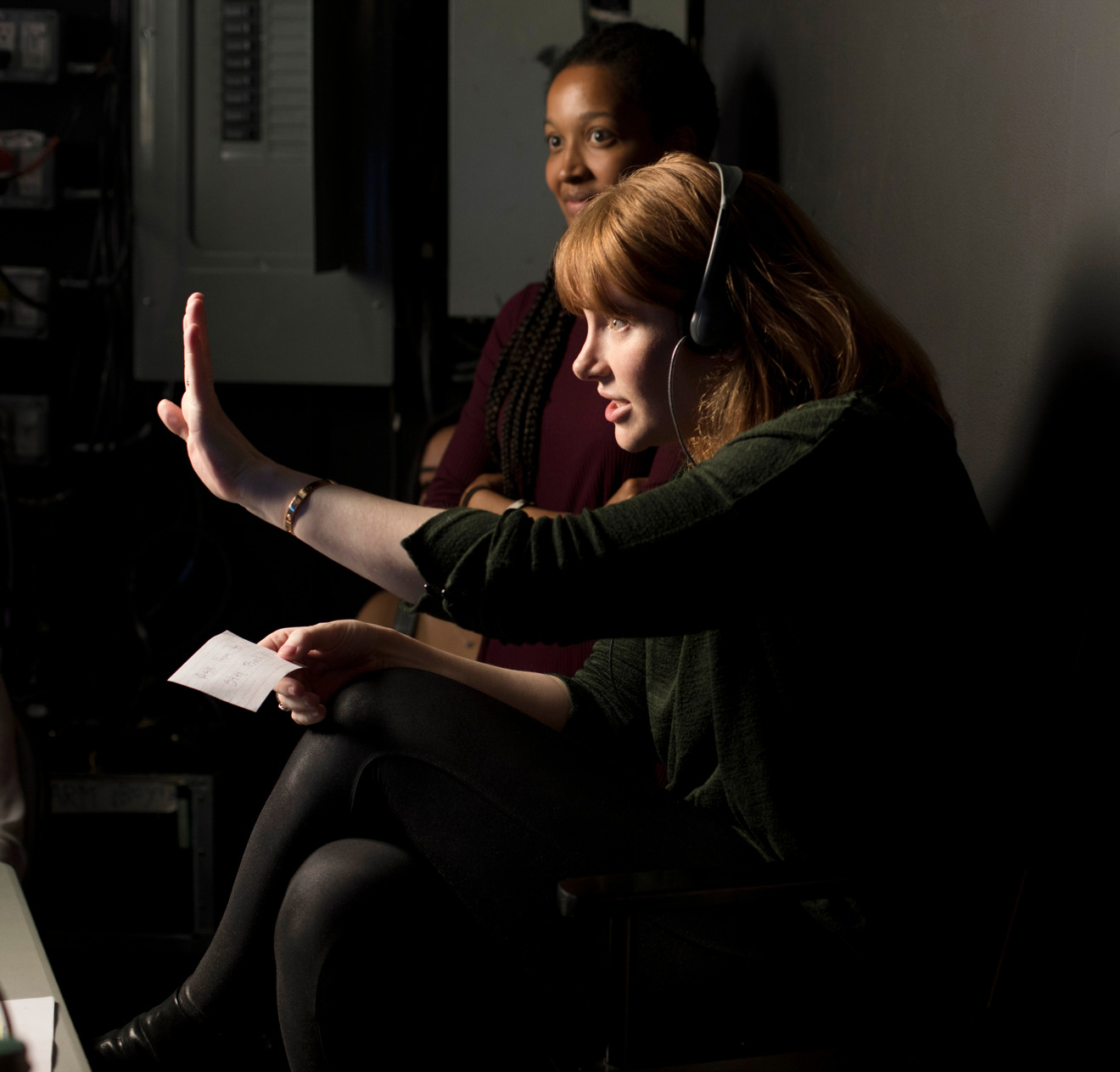 Director Bryce Dallas Howard on the set of