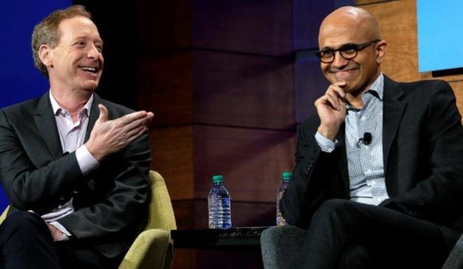 Microsoft President Brad Smith (left) and CEO Satya Nadella (right)