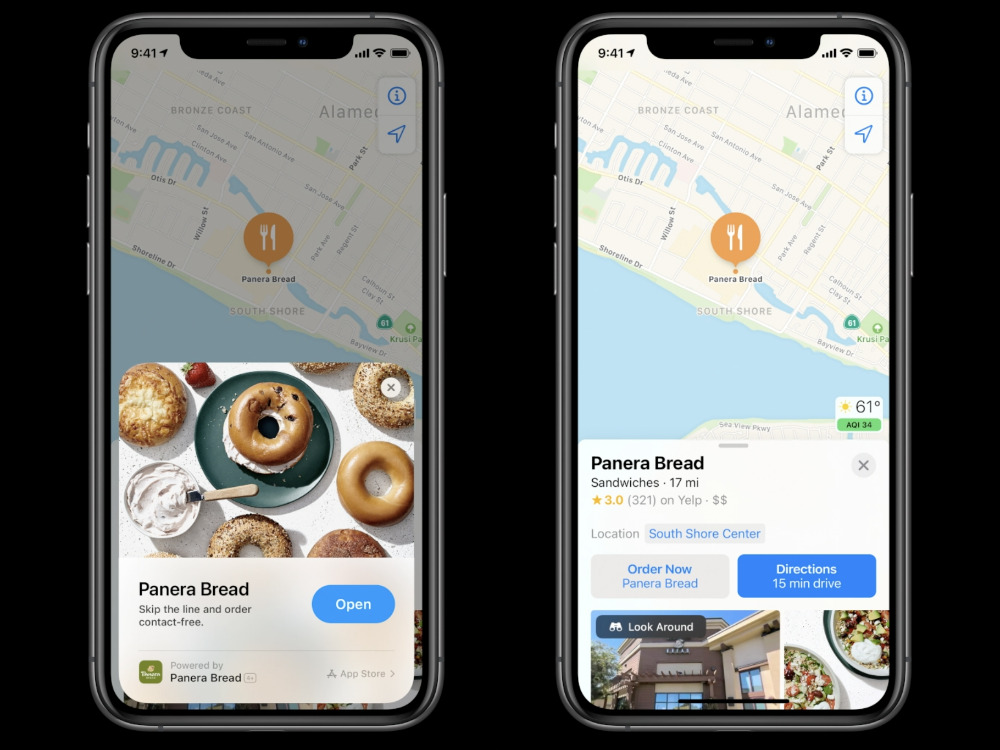 Apple Maps in iOS 14 provides more guide detail for eating, and shopping