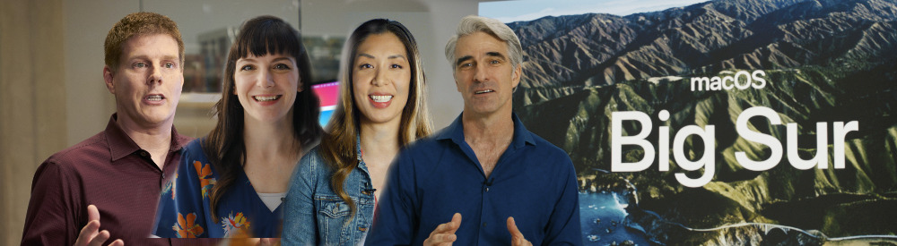 Four of the 20 WWDC presenters: (L-R) Andreas Wendker, Beth Dakin, Cindy Lin, Craig Federighi