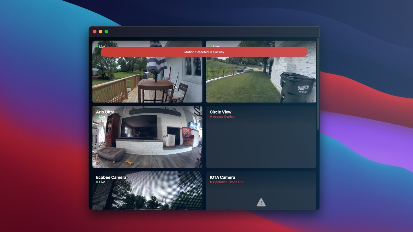 Very early look of HomeCam running on macOS Big Sur