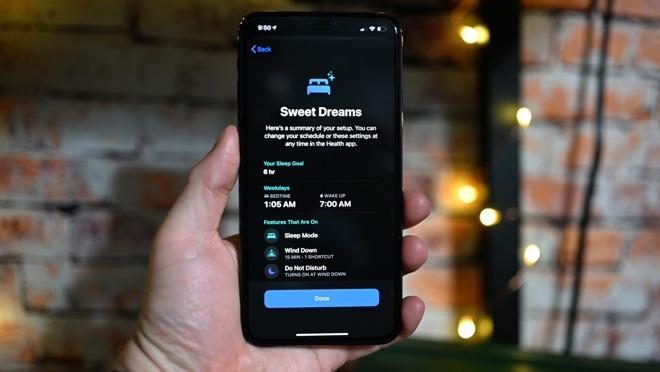 Sleep tracking setup on an iPhone