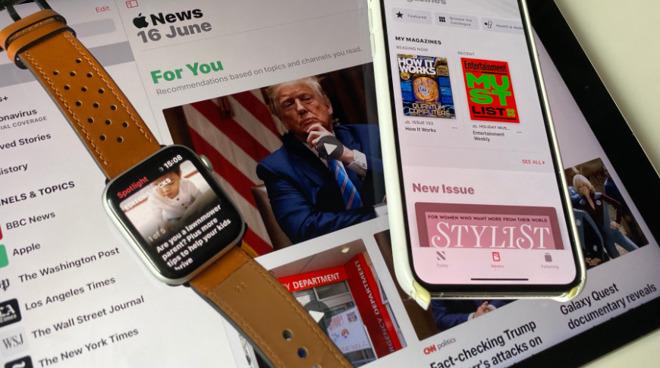 Apple News on an iPhone, iPad, and Apple Watch